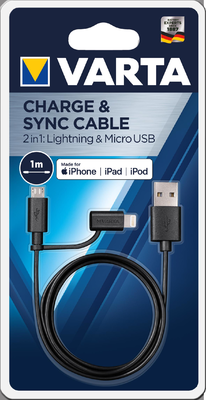 Nab.kabel Varta 2in1 Lightning-Micro USB